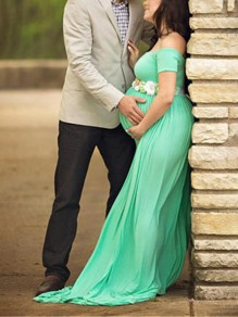 Green Draped Backless Off Shoulder Maternity Photoshoot Baby Shower Maxi Dress