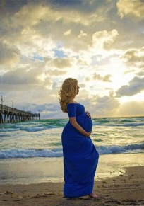 Royal Blue Draped Backless Off Shoulder Maternity Photoshoot Baby Shower Maxi Dress