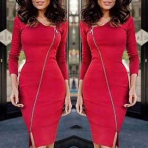 Rot Ausgeschnitten Reißverschluss Unregelmäßige Kragen Mode Midi Kleid