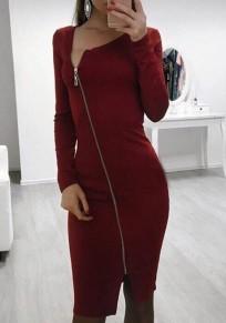 Wine Red Cut Out Zipper Irregular Collar Fashion Midi Dress