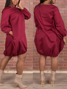 Burgundy Pockets Round Neck Lantern Sleeve Oversized Party Midi Dress