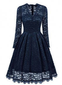 Navy Blue Lace Single Breasted Pleated V-neck Long Sleeve Midi Dress