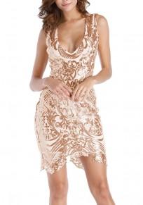 Champagne Pailletten Unregelmäßige V-Ausschnitt Bodycon Vereinwear Mode Minikleid