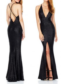 Black Backless Cross Back Sequin Plunging Neckline Sleeveless Maxi Dress