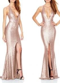 Golden Backless Cross Back Sequin Plunging Neckline Sleeveless Maxi Dress