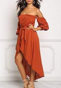 Red Ruffle Irregular High-low Swallowtail Sashes Banquet Off Shoulder Midi Dress