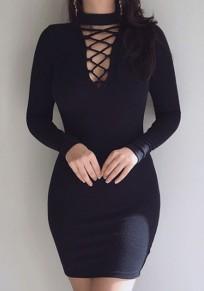 Black Cut Out Zipper Round Neck Fashion Mini Dress