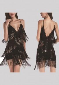 Black Patchwork Spaghetti Strap Tassel Sequin Bodycon Prom Evening Party Mini Dress