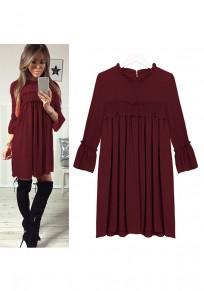 Wine Red Pleated Round Neck Three Quarter Length Sleeve Midi Dress