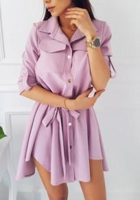 Mini robe ceintures irrégulières boutons poches mode machaon rose