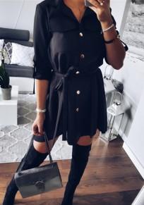 Black Irregular Sashes Buttons Pockets Swallowtail Fashion Mini Dress