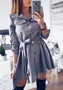 Mini robe écharpes irrégulières boutons poches machaon mode gris foncé