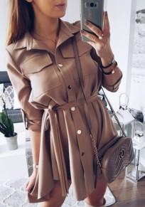 Mini robe ceintures irrégulières boutons poches mode machaon kaki foncé