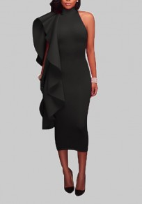 Black Ruffle Asymmetric Shoulder Band Collar Banquet Bodycon Elegant Midi Dress