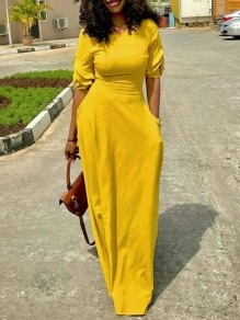 Yellow Pockets Ruffle Round Neck Slim Elegant Casual Maxi Dress
