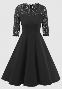 Black Patchwork Lace Draped Round Neck Elbow Sleeve Midi Dress