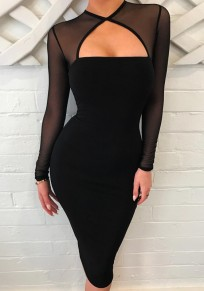 Black Patchwork Grenadine Cut Out Long Sleeve Midi Dress