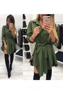 Armeegrün Einreiher Schärpen Unregelmäßige Umlegekragen Mode Minikleid