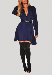 Dark Blue Plaid Print Single Breasted Long Sleeve Plus Size Blouse Mini Dress