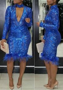 Dark Blue Patchwork Faux Fur Sequin Cut Out Halter Neck Party Midi Dress