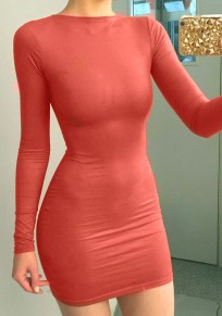 Nacarat Plain Long Sleeve Round Neck Slim Fashion Mini Dress