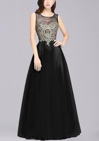 Black Patchwork Print Grenadine Zipper Appliques Round Neck Fashion Maxi Dress