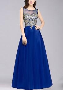 Blue Patchwork Print Grenadine Zipper Appliques Round Neck Fashion Maxi Dress