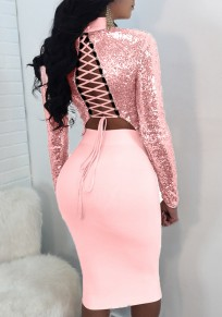 Pink Patchwork 2-in-1 Tie Back Cross Back Sequin Midi Dress
