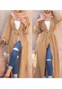 Khaki Sashes Long Sleeve Deep V-neck Casual Maxi Dress