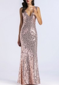 Golden Sequin Zipper Backless Bridesmaid Mermaid Sparkly Deep V-neck Maxi Dress