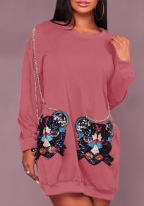 Robe paillette impression poches chaîne mignon sweat-shirt rose