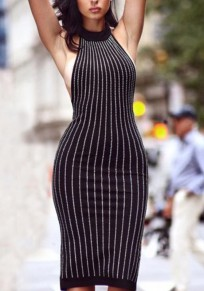 Black Striped Print Cut Out Round Neck Midi Dress