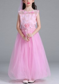 Pink Patchwork Appliques Bow Round Neck Children's Costumes Maxi Dress