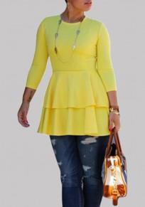 Mini robe manches volantées en cascade manches longues jaune
