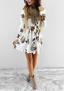 Beige Floral Print Round Neck Fashion Mini Dress