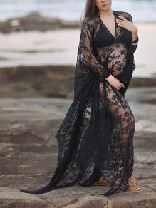Black Lace Irregular Plus Size Wavy Edge Kaftan Maternity For Babyshower Maxi Dress
