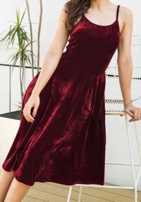 Midi-robe cordon irrégulier sans manches date rouge