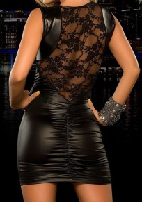Black Patchwork Lace Latex Bodycon Homecoming Party Club Mini Dress