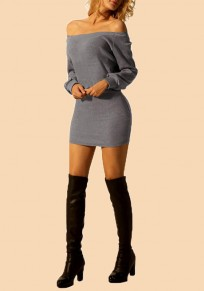 Grey Off Shoulder Backless Bodycon Long Sleeve Casual Mini Dress