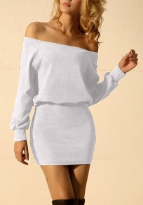 Mini robe épaule dos nu bodycon manches longues occasionnel blanc