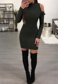 Schwarz Rüschen Rundhals Mode Mini Kleid