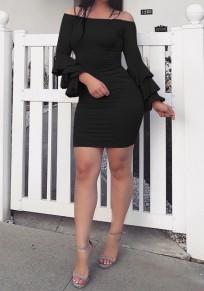 Black Ruffle Boat Neck Slim Fashion Mini Dress