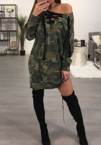 Camouflage Print Drawstring Lace-Up Slouchy V-neck Fashion Camo Mini Dress