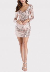 Champagne Geometric Sequin Irregular Deep V-neck Bodycon Long Sleeve Party Mini Dress
