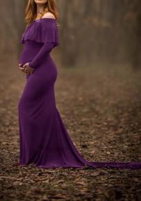 Robe longue de grossesse maternité pour gown drapé col bateau élégant violet