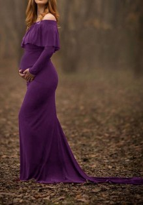 Purple Ruffle Off Shoulder Long Sleeve Elegant Maternity Photoshoot Maxi Dress