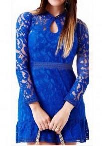 Mini vestido corte de encaje cuello redondo manga larga azul marino