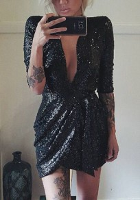 Black Patchwork Sequin Sashes Irregular Ruched Deep V-neck Party Mini Dress