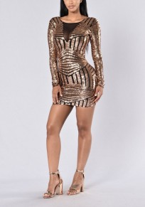 Golden Patchwork Grenadine Sequin Backless Round Neck Bodycon Party Mini Dress