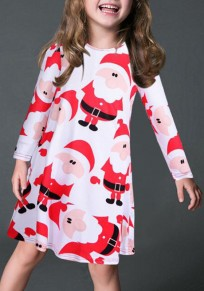 White Santa Claus Print Children Chrismas Long Sleeve Midi Dress